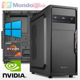 PC linea OFFICE AMD RYZEN 7 2700 8 Core 4,10 Ghz - Ram 16 GB - SSD 256 GB - nVidia GT 710 2 GB - Windows 10 Pro