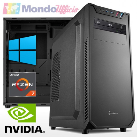 PC linea OFFICE AMD RYZEN 7 5800X 8 Core - Ram 16 GB - SSD M.2 1 TB - DVD - nVidia GT 710 2 GB - Windows 10 Pro